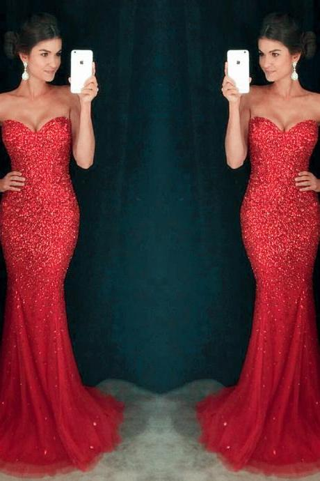 long sweetheart crystal beaded mermaid prom dress pageant evening gowns