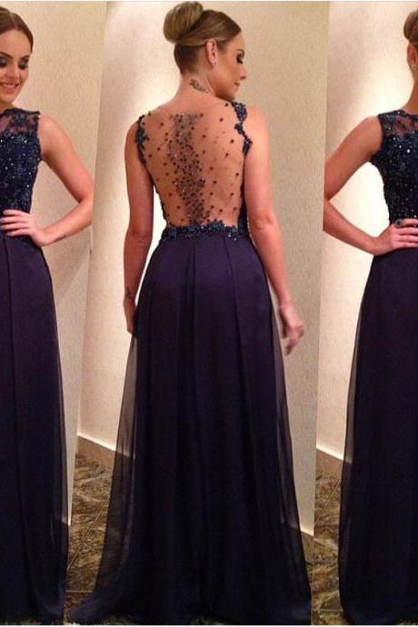 Navy Blue Sleeveless Plunging Beaded A-line Floor-Length Prom Dress, Evening Dress Featuring Sheer Back