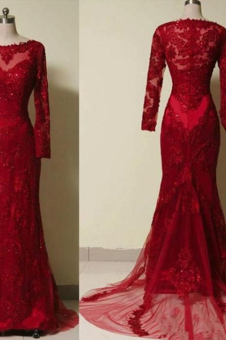 Red Prom Dresses, Wine Red Lace Applique With Tulle Prom Gowns, Red Prom Gowns, Red Prom Dresses, Evening Dresses, Red Formal Dresses