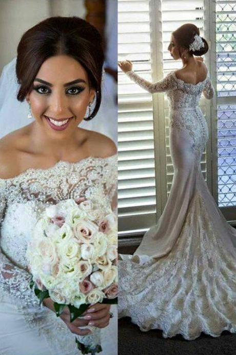 Mermaid Lace Long Sleeve Wedding Dresses,Long Wedding Dress Custom Made Wedding Gown