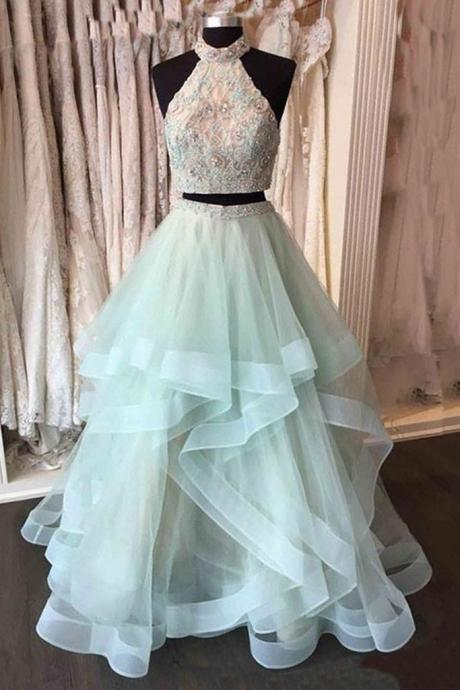 Light green tulle two pieces long prom dress, green evening dress