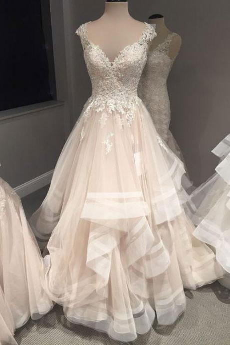 Champagne v neck lace tulle long wedding dress, wedding dresses