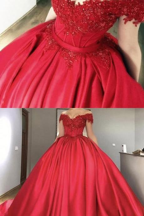 Ball Gown,Off-the-Shoulder Dress,Red Dress,Beaded Prom Dresses,Prom Dresses ,Long Prom Dress