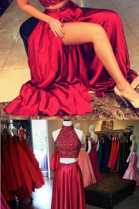 Long Prom Dress,Beading Crystal Prom Dress,Prom Dresses,Evening Formal Dress,Women Dress