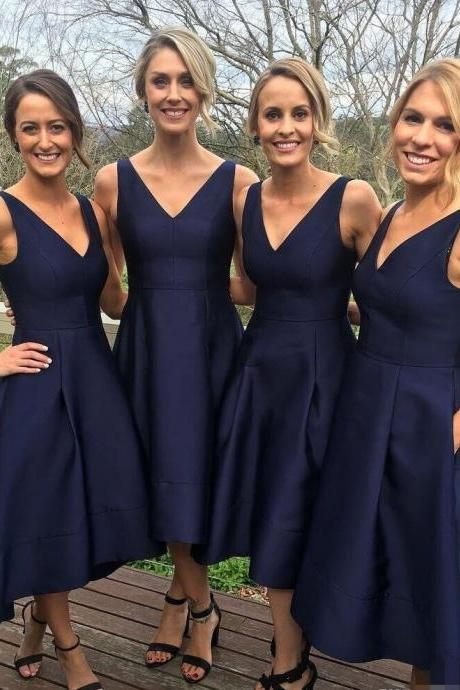 Simple Navy Blue Bridesmaid Dresses,V Neck High Low Bridesmaid Dress,A Line Party Dress with Pockets