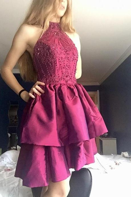 Beading Crystals Homecoming Dresses, Wine Red Homecoming Dresses,Rhinestone Homecoming Dresses, Short Homecoming Dresses,Juniors Homecoming Dresses