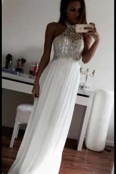 High Quality Graduation Dress,Beading Graduation Dress,Long Graduation Dress,Halter Graduation Dress,Chiffon Prom Dress