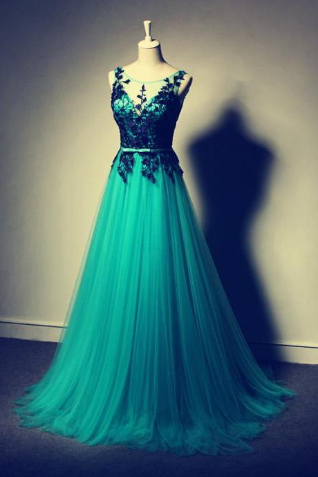 Charming Prom Dress,Appliques Prom Dress,A-Line Prom Dress,Tulle Prom Dress