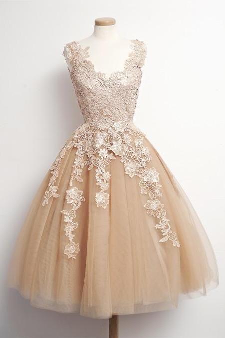 Charming Homecoming Dress,Appliques Homecoming Dress,Tulle Homecoming Dress, Noble Short Prom Dress