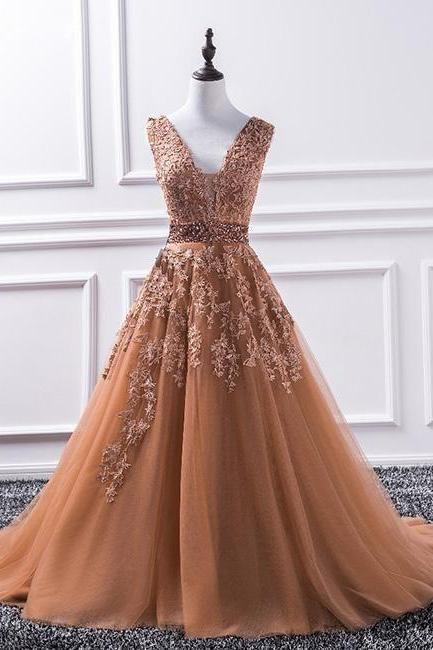 CHAMPAGNE V NECK PROM DRESS, TULLE LACE LONG PROM DRESS, SLEEVELESS EVENING DRESS