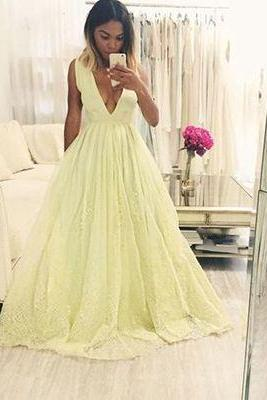 Yellow v neck long prom dress,yellow evening dresses