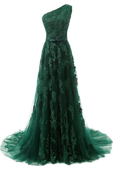 Forest Green Lace Appliqués Prom Dress,Tulle Floor Length Prom Dresses, Featuring One Shoulder Bodice with Bow Accent Belt