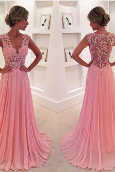 Beautiful V-neck Pink Lace Prom Dresses,Chiffon Long Prom Dress, Ball Gown, Modest Prom Dress
