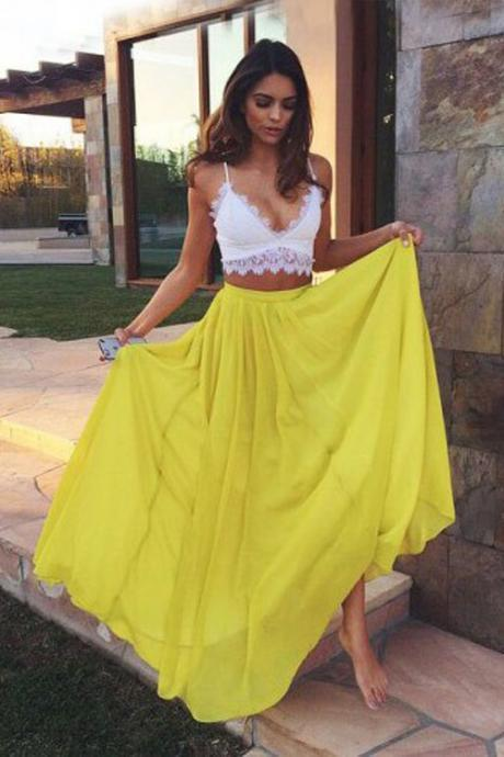 Two Piece Prom Dress,Yellow Prom Dresses,Long Evening Dress