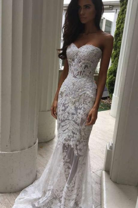 Charming Sheath Sweetheart Wedding Dresses with Appliques, Lace Wedding Dress