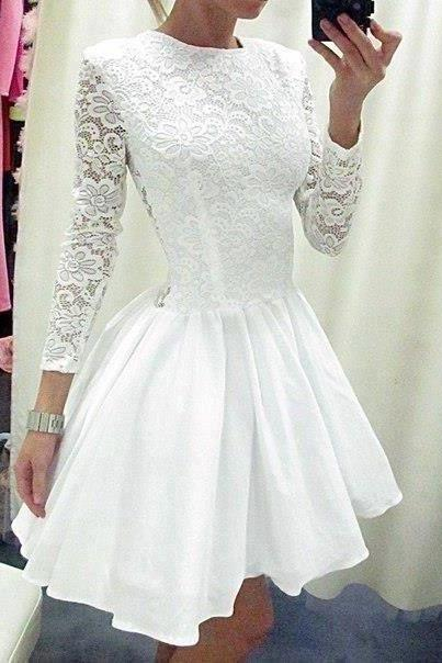 Long Sleeves Princess White LaceTaffeta Skirt Short Wedding Dress High Neck See Through Back Above Knee Length Bridal Wedding Gowns Mini Length Homecoming Dresses Short Prom Dress Bridal Wedding Dresses