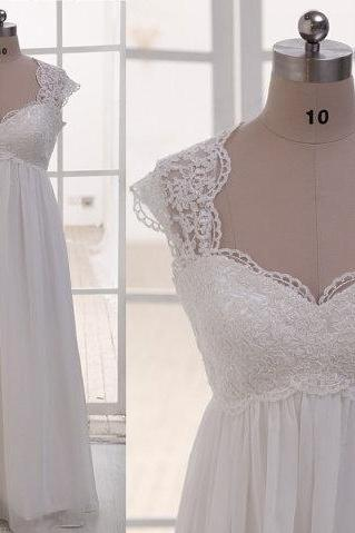 Lace Queen Anne Neckline Empire Waist Chiffon Wedding Dress
