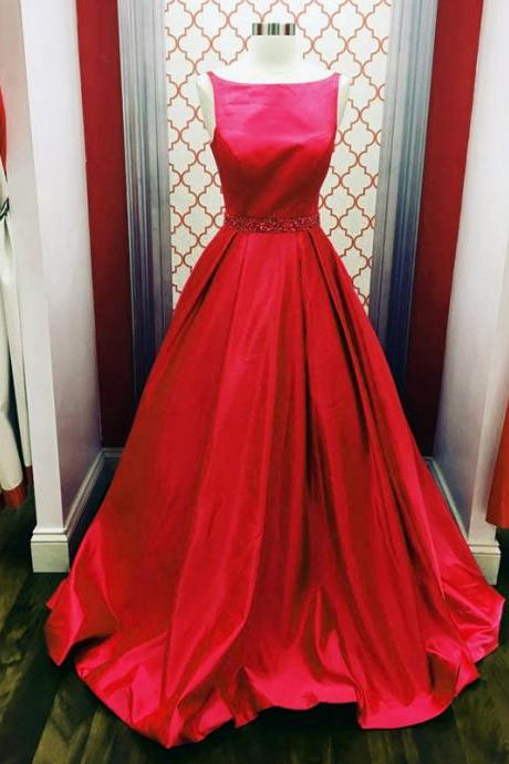 red ball gowns,scoop neck prom dress,simple dress,prom gowns elegant prom dress,puffy dress