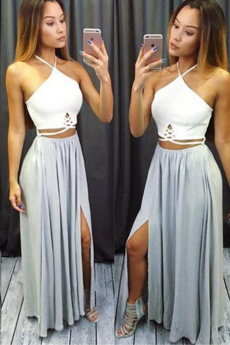 Custom Made Two Pieces Prom Dress,Halter Side Slit Sexy Dress,High Quality