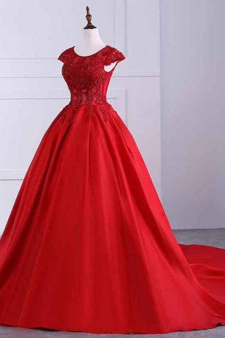Red Prom Dresses,Prom Dress,Red Prom Gown,Bright Red O-NECK Prom Dresses Ball Gown Cap Sleeve Popular New Evening Dress