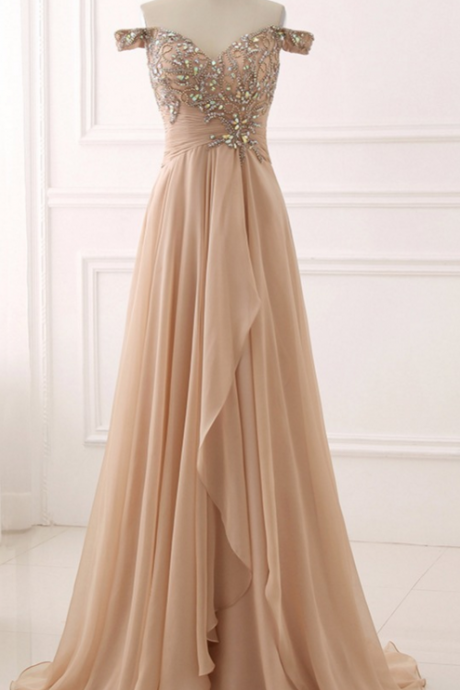 Beaded Embellished Off-The-Shoulder Sweetheart Floor Length Chiffon A-Line Prom Dress, Evening Dress