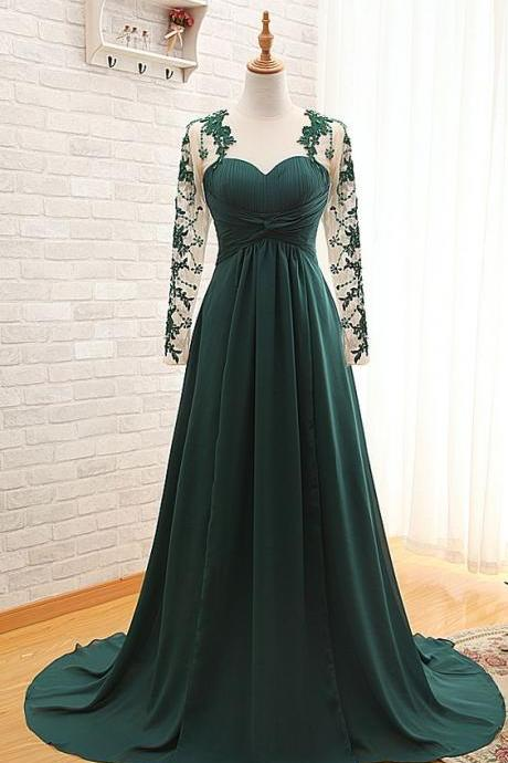 Green Prom Dress,Lace Long Sleeve Prom Dress,Fashion Prom Dress,Sexy Party Dress,Custom Made Evening Dress