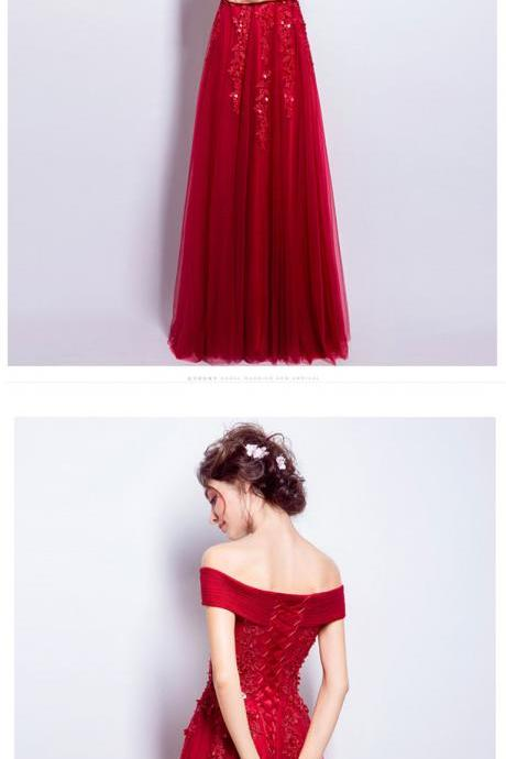 Red Floral Lace Appliqués and Beaded Embellished Off-The-Shoulder Tulle Floor Length Prom Dress, Formal Dress