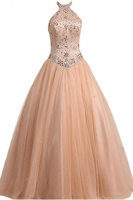 Ball high neck tulle prom dresses,with beads long prom dress, high quality gown dress, formal dress, wedding dress