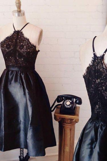 lace up black A-line homecoming dress, satin high neck homecoming dress, with zipper, for teens, short homecoming dresses, prom dresses