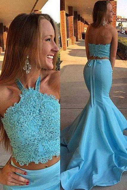 New Long Sexy Blue Two Piece Prom Dress, Mermaid Prom Dress,Halter Backless Evening Dresses