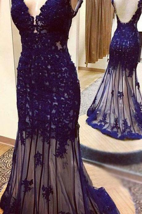 Deep blue tulle prom dress, V-neck mermaid prom dresses,beading full-length prom dress, evening dresses, prom dress