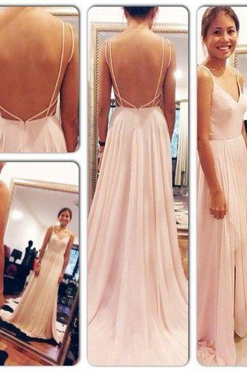 Backless Prom Dresses, Spaghetti Straps Prom Dress,V Neck Pink Open Back Prom Dresses,Chiffon Long Evening Gowns
