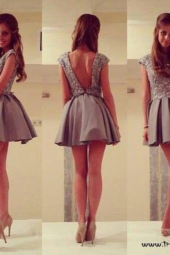 Ball Gown, High Neck, Beads Sequins, Grey, Short, Mini, Backless, prom Dress, Homecoming Dresses