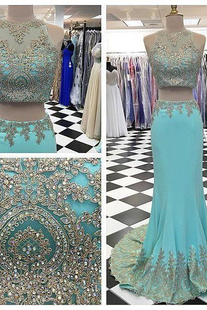Blue Illusion Neckline Two-Piece Mermaid Prom Dress Featuring Rhinestone Embellishments