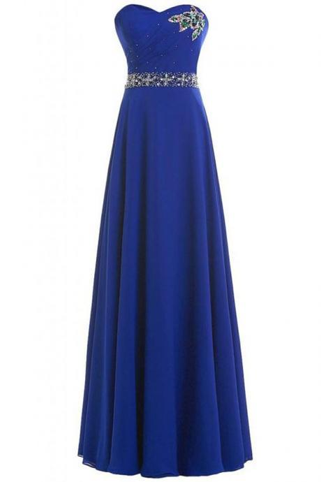Royal Blue Strapless Sweetheart Beaded A-line Floor-Length Prom Dress, Evening Dress Featuring Lace-Up Back