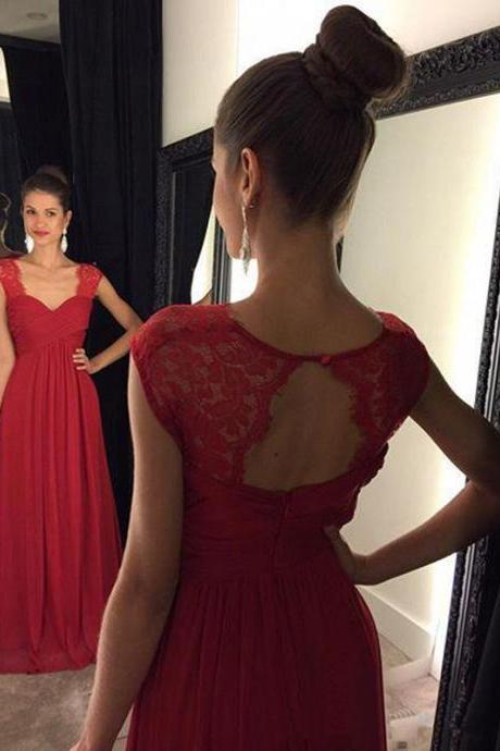 Lace Prom Dresses,Prom Dress,Red Prom Gown,Lace Prom Gowns,Elegant Evening Dress,Modest Evening Gowns,Simple Party Gowns,Lace Prom Dress