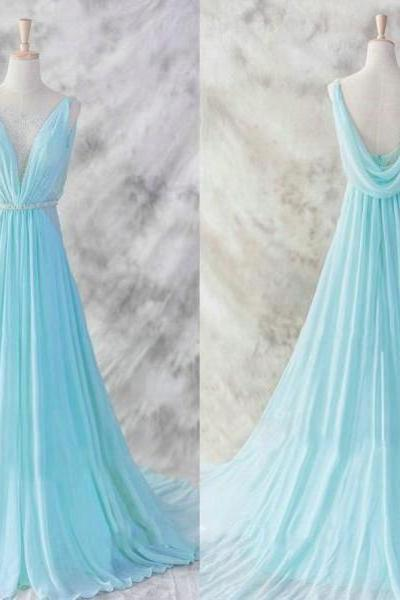Plunge V Ruched Chiffon Floor-length Prom Dress, Evening Dress