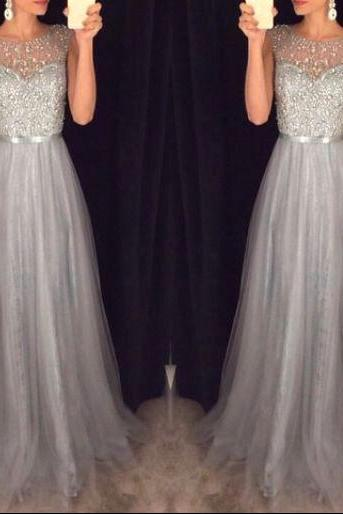 New Arrival Prom Dress,Shiny grey prom dresses,A-line beading tulle prom dress, evening formal gowns