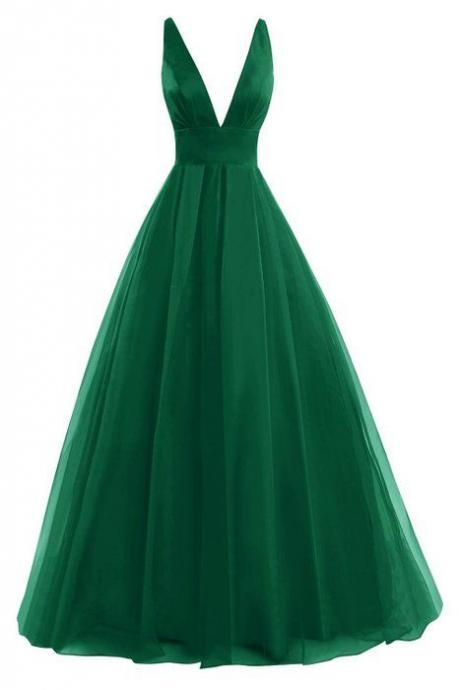 Green Satin Plunge V Sleeveless Floor Length Tulle Prom Gown