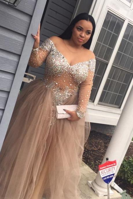 Plus Size Custom Made Beading Prom Dresses, Floor-Length Evening Dress,Prom Dresses