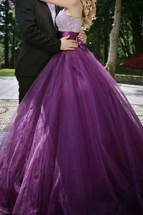 Purple Prom Dress , Shiny Beading Top Prom Dress , Elegant Bow On Back Prom Dress , Sweetheart Floor Length Long Prom Gown