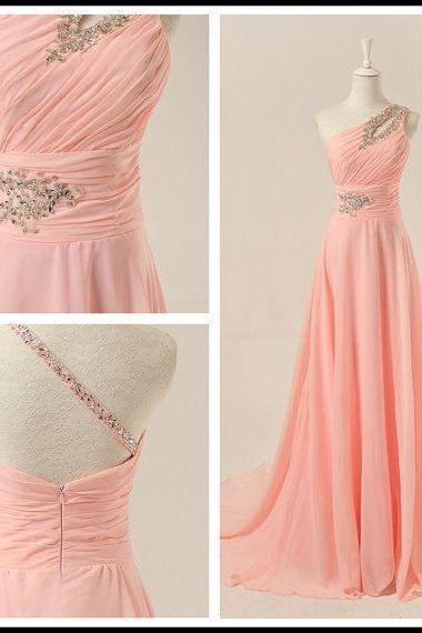 Prom Dress,Chiffon Prom Dress,A-Line Prom Dresses,One-Shoulder Prom Dress,Long Prom Dress