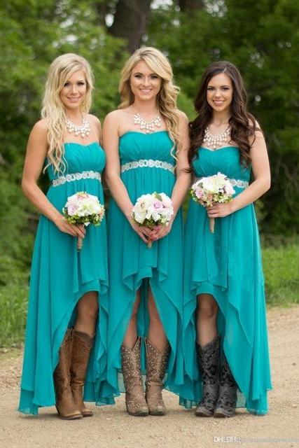 Turquoise Beach Bridesmaid Dresses ,High Low Modest Chiffon Long Wedding Guest Gowns