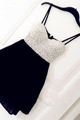 Spaghetti Straps Prom Dress,Chiffon Prom Dress,Cute Prom Dresses,Beaded Prom Dress,Short Prom Dress