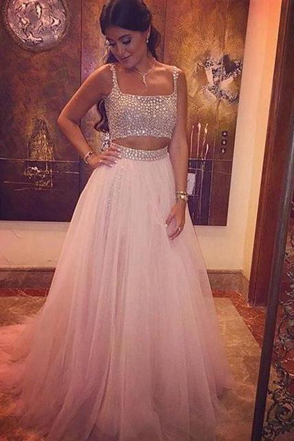Sleeveless Straps Beaded Crystal Prom Dress,Long Evening Dresses 2 Piece Prom Dresses