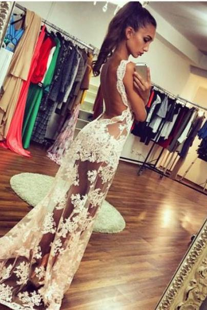 White Prom Dresses,Lace Prom Dress,Sexy Prom Dress,Simple Prom Dresses,Formal Gown,Evening Gowns,Party Dress,Prom Gown For Teens