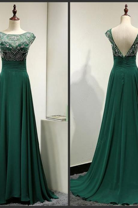 Green Beaded Embellished Bateau Neck Cap Sleeves Floor Length Chiffon Formal Dress Featuring Plunge V Back, Prom Dress