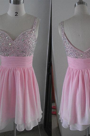 Pink Homecoming Dress,Homecoming Dresses,Beading Homecoming Gowns,Short Prom Gown,Pink Sweet 16 Dress,Homecoming Dress,Cocktail Dress,Evening Gowns