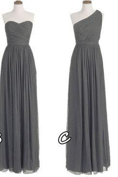 One Shoulder Bridesmaid Gown,Pretty Prom Dresses,Gray Prom Gown,Simple Bridesmaid Dress,Grey Bridesmaid Dress,Cheap Evening Dresses,Fall Wedding Gowns