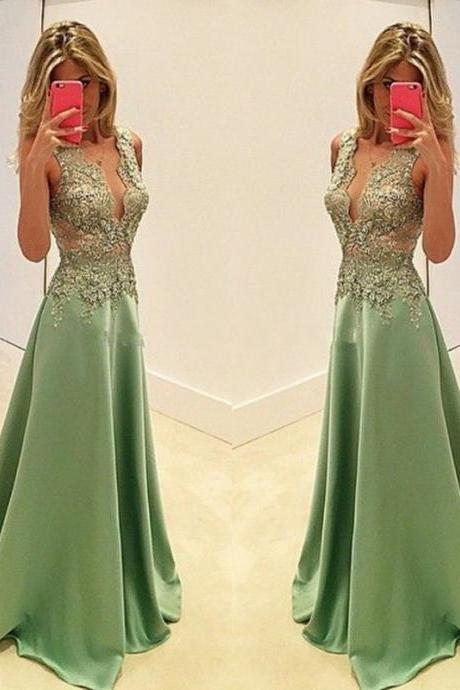 Green Prom Dresses,V neckline Prom Dress,Sexy Prom Dress,Hunter Green Prom Dresses,Formal Gown,Lace Evening Gowns,Taffeta Party Dress,Prom Gown For Teens
